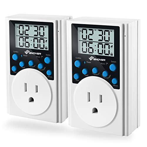 Light Timer Plug,Enover Electrical Light Timer Programmable Plug-in Digital Timer With 3-prong Outlet for Home,Daily Interval Countdown,15A/1800W (2 pack) by Enover