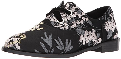 Shellys London Women's Frankie Oxford Flat, Black Floral, 38 M EU (7.5 (Floral Oxfords)