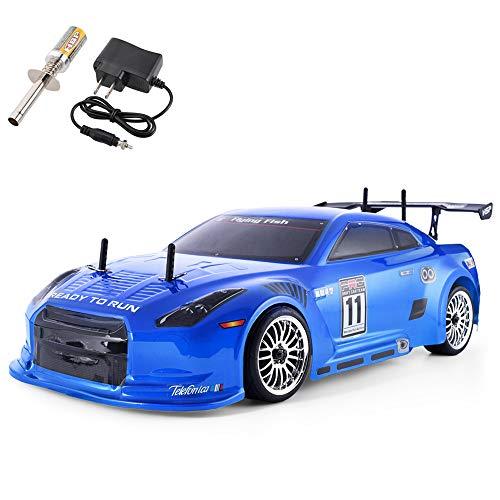 HSP 4wd RC Car 1:10 On Road Touring Drift Two Speed Nitro Power Vehicle (Blue) (Nitro Touring Car)