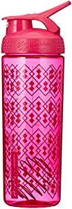 Blender Bottle SportMixer Geo Lace Pattern Sleek Shaker Bottle, Pink, 825 ml Capacity