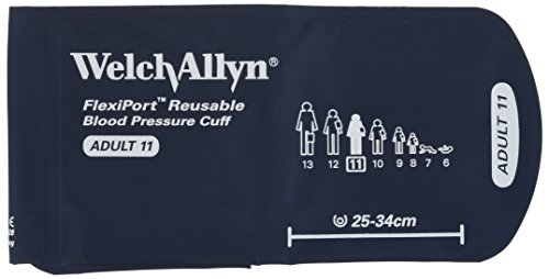Welch Allyn REUSE-11-2MQ FlexiPort Reusable Blood Pressure Cuffs with Two-Tube Locking-Type Connectors, Adult, Size 11