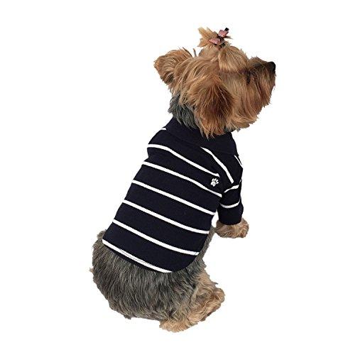Anima Navy Blue-White Stripe Polo Style Pet Shirt Clothes, X-Small