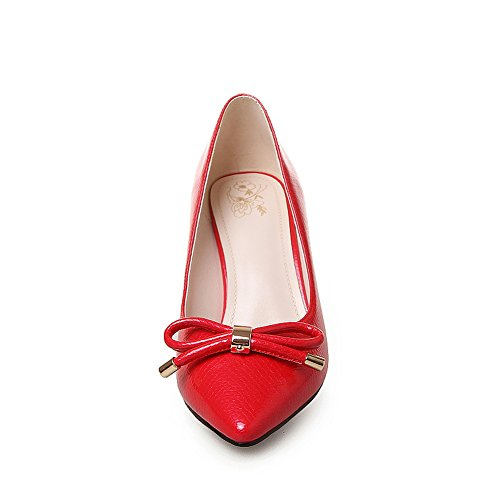 BalaMasa Girls Spun Gold Bowknot Chunky Heels Metal Ornament Patent Leather Pumps-Shoes Red 5Co6xthQ