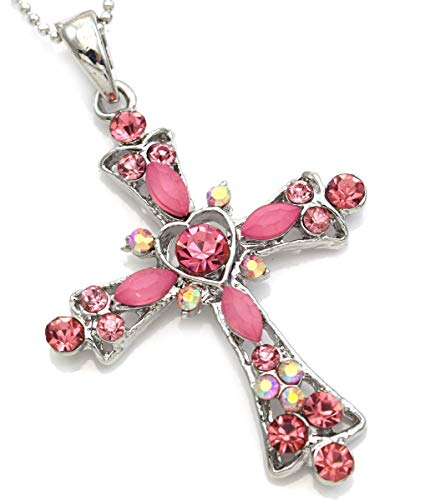 Soulbreezecollection Christian Cross Necklace Heart Shape Pendant Chain Charm Designer Jewelry (Pink)