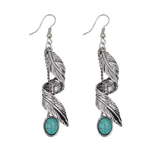 ian Turquoise Antique Silver/Gold Tribal Fringe Dangle Earrings (Twist Leaf-Antique Silver) ()