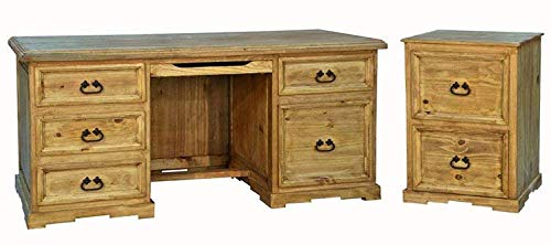 Santa Rita Rustic Executive Desk & File Cabinet Set Fully Assembled - Honey Pine File Cabinet