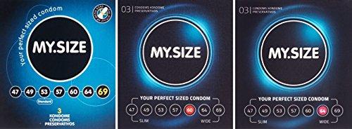 My Size - Set de preservativos (3 unidades, tallas disponibles 60, 64 y 69 mm)