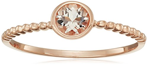 ite Round Solitaire Beaded Shank Stackable Ring, Size 7 (Morganite Rose Ring)