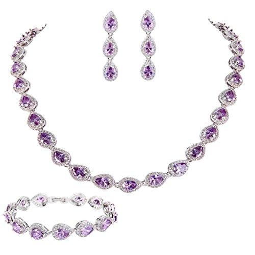 EVER FAITH CZ February Birthstone Elegant Tear Drop Necklace Earrings Bracelet Set Purple Amethyst-color (Birthstone Jewelry Sets For Women)