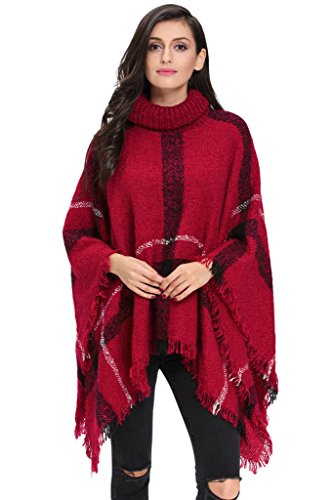HOTAPEI Women Turtleneck Sweaters Knitted Pullover Sweatshirt Red (Plus Size Poncho)