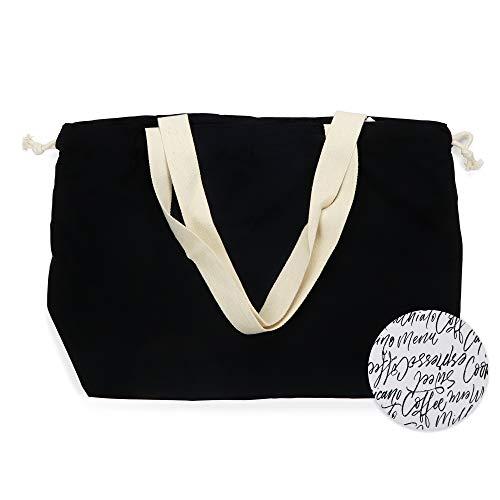 Signature Drawstring Handbag - Hello Mello Lightweight Signature Soft Reversible Drawstring Shoulder Tote Bag Overnight Weekender