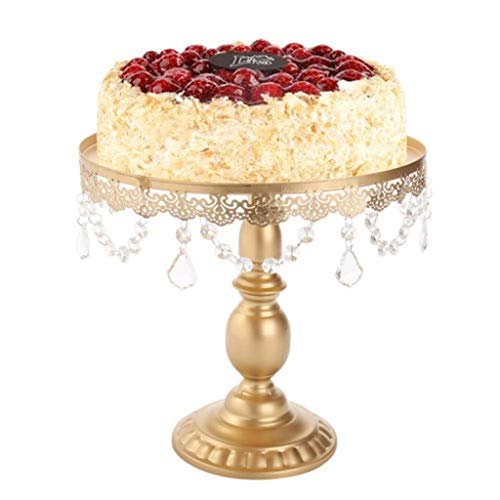 Euone Cake Stand w/Crystals Round Metal Wedding Party Display Tower ()