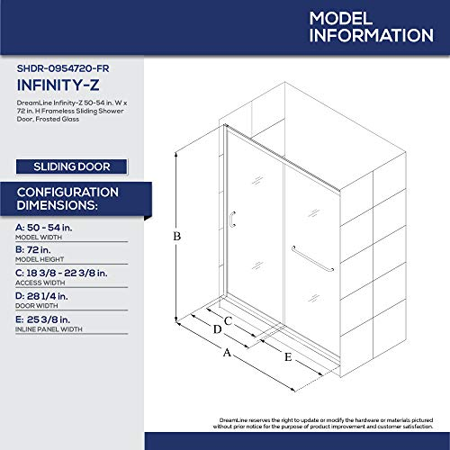 DreamLine Infinity-Z 50-54 in. W x 72 in. H Semi-Frameless Sliding Shower Door