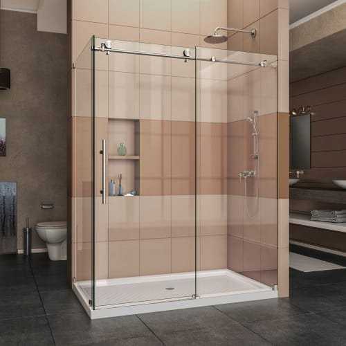 DreamLine SHEN-6132601-07 Enigma-X 32 1/2 in. D x 60 3/8 in. W x 76 in. H Fully Frameless Sliding Shower Enclosure in Brushed Stainless Steel, 32 1/2 in D x 56 3/8-60 3/8 in. W