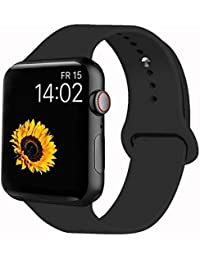 Sport Band Compatible for Apple Watch Band 38mm 40mm 42mm 44mm, Soft Silicone Sport Strap Replacement Bands Compatible with 2019 Series 5 iWatch Apple Watch Series 4/3/2/1, Sport, Nike+, Edition