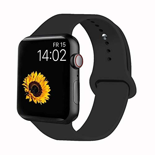 VATI Sport Band Compatible for Apple Watch Band 38mm 40mm, Soft Silicone Sport Strap Replacement Bands Compatible with 2019 Apple Watch Series 5, iWatch 4/3/2/1, 38MM 40MM S/M (Black) from VATI