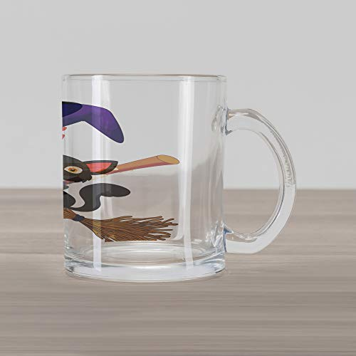 (Lunarable Witch Glass Mug, Cute Happy Girl with Funny Cat Celebration Costume Joyful Party Halloween Childhood, Printed Clear Glass Coffee Mug Cup for Beverages Water Tea Drinks,)