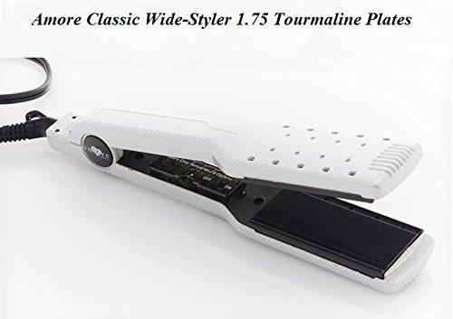 Amore Classic White Wide Styler 1.75 inches Tourmaline Plates Flatiron