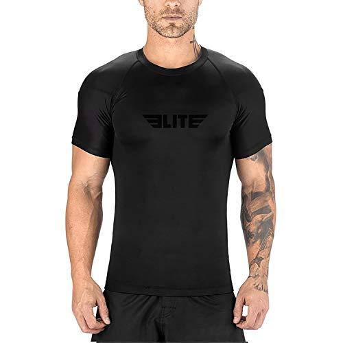 Elite Sports New Item Standard Short Sleeve Compression, Mma, Bjj, No Gi, Cross Training Rash Guard, Medium, Black