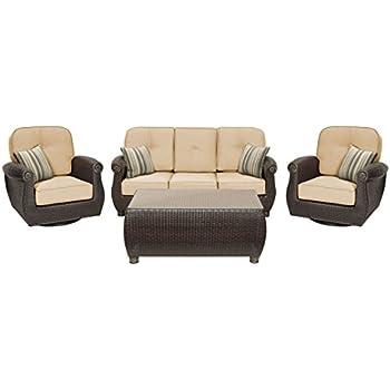 La Z Boy Outdoor Breckenridge 4 Piece Resin Wicker Patio Furniture  Conversation Set (