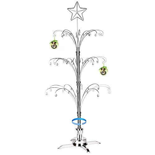 HOHIYA Ornament Display Stand Tree Christmas Metal Rotating 60 Hooks 47inch(Silver) (Display Stand Ornament Tree)