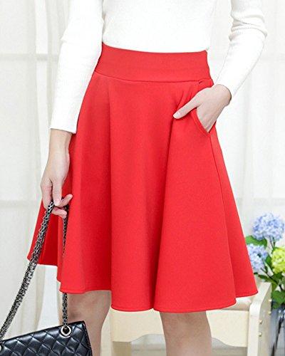 Taille Patineuse Avec Femme Taille Grande Longue Haute Trapze Mi Jupe Rouge Poche wIqf0p1I