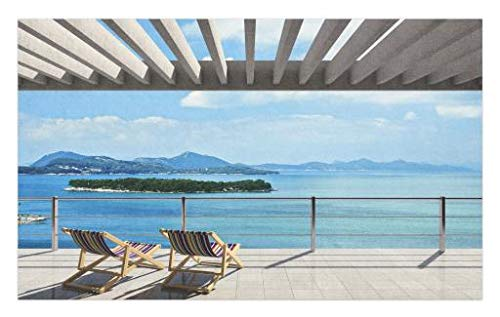 Lunarable Beach Theme Doormat, Modern Tile Roof Top House with Garden and Ocean View Image, Decorative Polyester Floor Mat with Non-Skid Backing, 30 W X 18 L Inches, Brown White Green and Blue ()