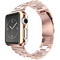 Creazy Stainless Steel Strap Watch Band+Adapter+Case Cover for Apple Watch 38mm (Rose Gold)