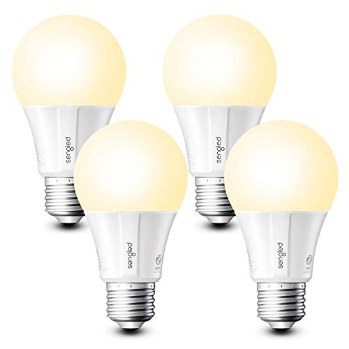 Sengled Smart Light Bulbs, Alexa Light Bulb A19 Dimmable, Smart Bulbs that Work with Alexa, Google Home, Smart LED Light Bulbs Soft White 800LM, 60W Equivalent, Zigbee Smart Hub Required, 4 Pack