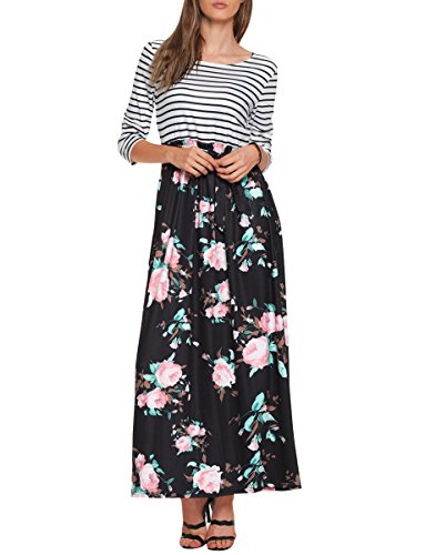 TECREW Women's Striped Floral Print Boho Long Maxi Dress 3/4 Sleeve Tie Waist with Pockets