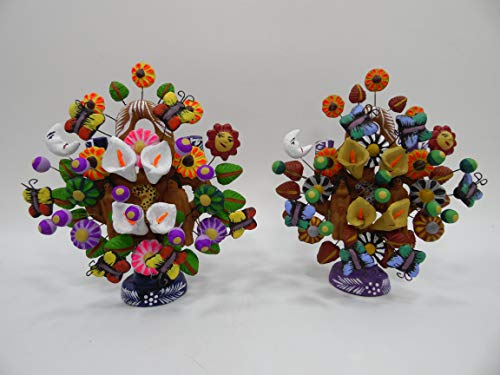 set of 2 CLAY TREES of LIFE, 100% handmade, colorful mexican folk art lot Item Information Colorful Mexican Folk Art