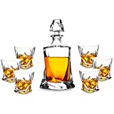 7-Piece Twist Crystal Whiskey Decanter Set. KANARS Premium Liquor Decanter with 6 Old Fashioned Glasses for Scotch or Bourbon. Dishwasher Safe