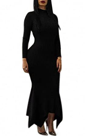 5194c227baeb Ophestin Women Sexy Mock Neck Long Sleeve Knit Ribbed Bodycon Mermaid Long  Maxi Dress Black S