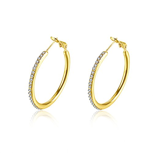 Gold Hoop Earrings Fashion Yellow 14K Plated Hula Hoop Earring Hypoallergenic Rhinestone Seamless Pierced Earring For Womens Girls (gold) 14k Yellow Gold Pierced Earrings