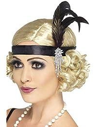 20's Charleston Costume Accessory Black Satin Headband