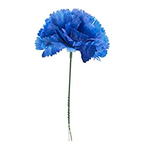 "MARJON Flowers100 Royal Blue Silk Carnations, Artificial Fake Flower for Bouquets, Weddings, Cemetery, Crafts & Wreaths, 5"" Stem Pick (Bulk) 83"