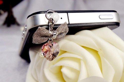 Pink Heart Crystal with Bow Charm (002401) Dust Plug / Earphone Jack Accessory / Ear Cap (Bow Ear Charm Jack)