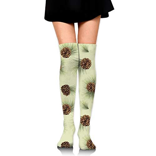 MFMAKER Womens Classic Warmer Tube Leg Stockings Cute Pinecone Casual Socks Over The Knee High Socks ()