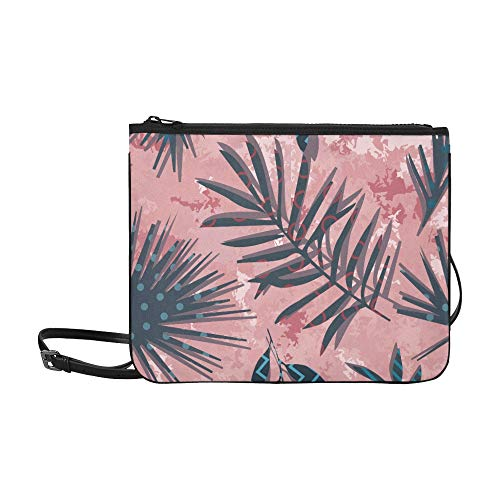 Tropical Exotic Flowers And Plants With Green Leav Pattern Custom High-grade Nylon Slim Clutch Bag Cross-body Bag Shoulder Bag