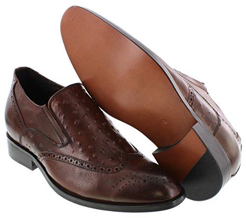 Calden K62623-2.8 Inches Taller - Height Increasing Elevator Shoes (bruine Instappers Leren Onderkant)
