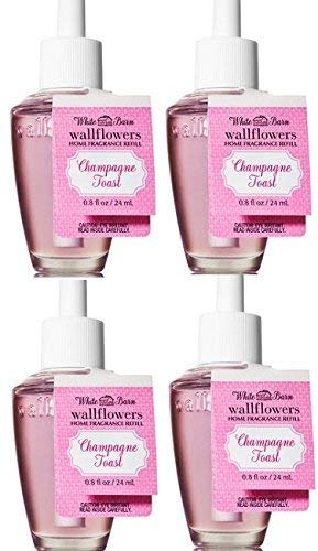 Bath and Body Works 4 Set Champagne Toast Wallflowers Fragrance Refill. 0.8 Oz.