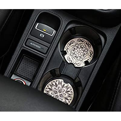 """Car Coasters 2 Pack, 2.56"""" Diameter Absorbent Stone Coaster for Drinks, Car Cup Holder Accessories Absorb Water Drops to Keep Your Car Cup Holders Clean and Dry-2 Pack (Black): Coasters"""