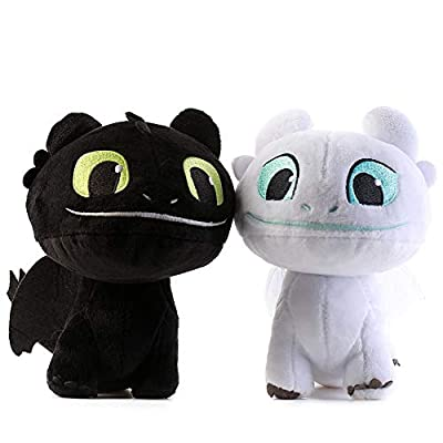 Honeytoy 2 PCS / Set Light & Night Fury How to Train Your Dragon Toothless Doll Stuffed Animal Plush Toy for Children (22 cm) (Light & Night): Toys & Games