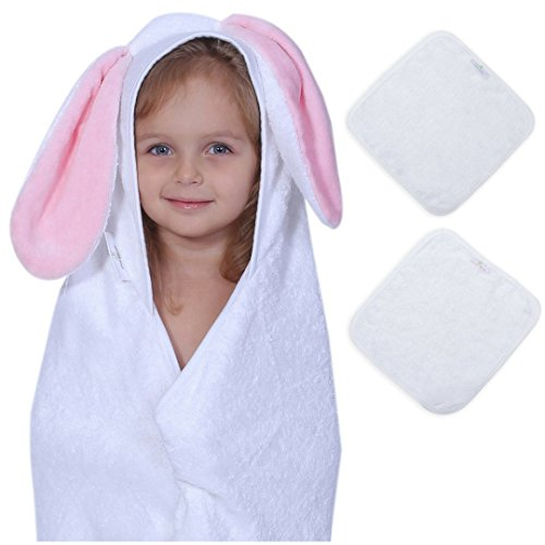 Bamboo Baby Hooded Towel & 2 Washcloth Family Set (Rosie Bunny) - Cashmere Soft 4X more Absorbent - Bath Towel with Hood for Boy Girl at Pool Beach - Perfect Shower Gift Baby Registry