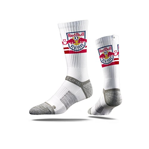fan products of Strideline MLS New York Red Bulls Premium Athletic Crew Socks, White, One Size