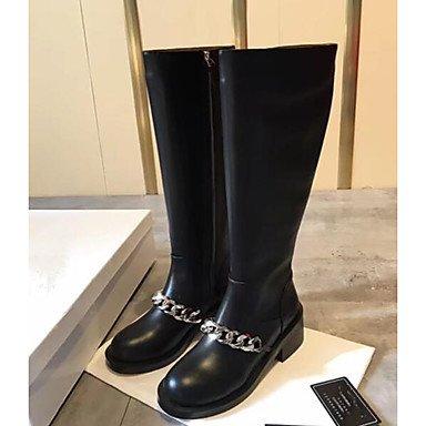 RTRY Zapatos De Mujer Cowhide Primavera Otoño Confort Botas Botas De Moda Casual Negro Negro Us8.5 / Ue39 / Uk6.5 / Cn40 US8.5 / EU39 / UK6.5 / CN40