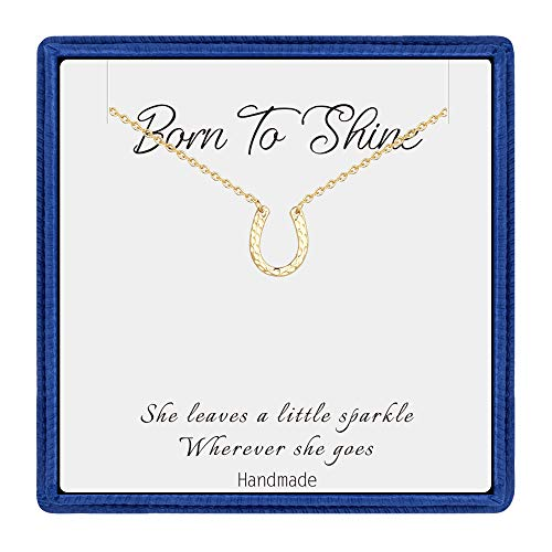 PAERAPAK Necklace for Women Lucky Horseshoe - Dainty 14K Gold Filled CZ Good Luck Charm Necklace Inspirational Gifts for Women Wedding Gifts Bridesmaid Gifts Graduation Gifts for Her ()