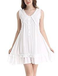 Women Victorian Sleeveless Button Ruffle Short Dress by NORA TWIPS(XS-XL)