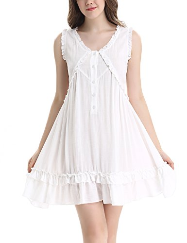 Womens Victorian Vintage Sleeveless Button Sleepwear Nightgown Ruffle Short Dress by Nora TWIPS(XS-XL) White