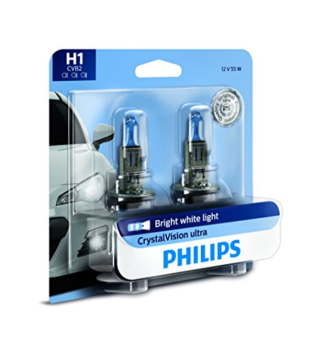 Philips H1 CrystalVision Ultra Upgraded Bright White Headlight Bulb, 2 Pack